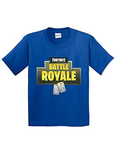 New Way 884 - Youth T-Shirt Fortnite Battle Royale Dog Tags Large Royal (Blue Dog Apparel)