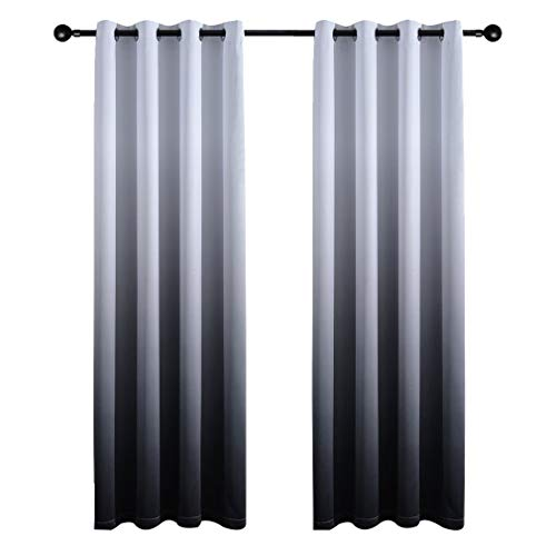 Yakamok Gradient Color Ombre Blackout Curtains Thickening Polyester Thermal Insulated Grommet Window Drapes for Living Room/Bedroom (Black, 2 Panel/ 52x96 Inch) ()