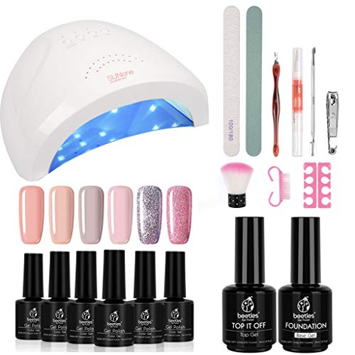 Beetles Gel Nail Polish Starter Kit with 48W UV/LED Light Nail Lamp Base Top Coat (3 Timer Setting), Soak Off Gel Color 6 Spring Summer Mauve Set Manicure Tools Essentials Nail Art Designs Series 2 (Best At Home Gel Polish)