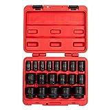 Sunex 2640, 1/2 Inch Drive Impact Socket Set, 19-Piece, SAE, 3/8 Inch – 1-1/2 Inch, Cr-Mo Alloy Steel, Radius Corner Design, Dual Size Markings, Heavy Duty Storage Case, Meets ANSI Standards