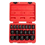 Sunex 2640, 1/2 Inch Drive Impact Socket Set, 19-Piece, SAE, 3/8 Inch - 1-1/2 Inch, Cr-Mo Alloy Steel, Radius Corner Design, Dual Size Markings, Heavy Duty Storage Case, Meets ANSI Standards