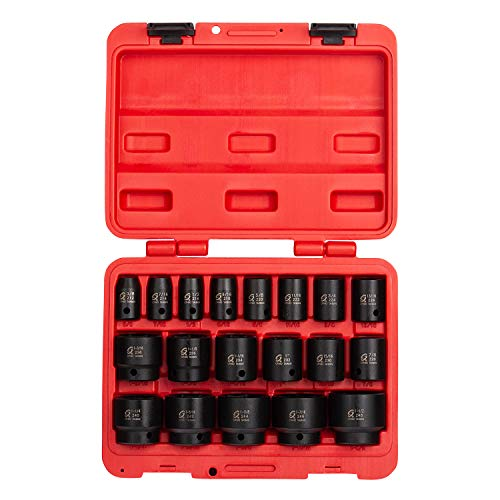 (Sunex 2640, 1/2 Inch Drive Impact Socket Set, 19-Piece, SAE, 3/8 Inch – 1-1/2 Inch, Cr-Mo Alloy Steel, Radius Corner Design, Dual Size Markings, Heavy Duty Storage Case, Meets ANSI)