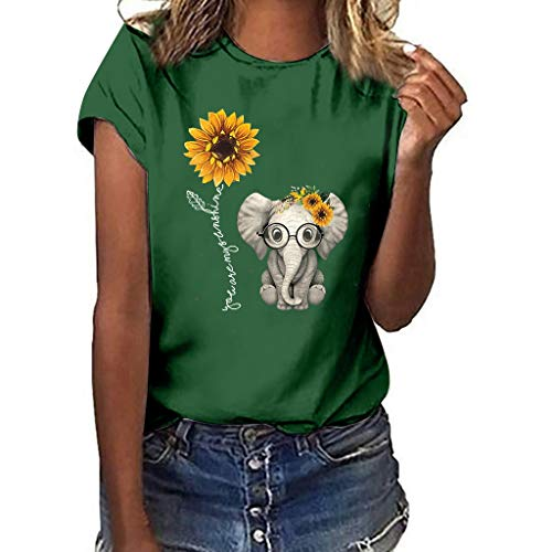 Sunflower Print Clothes Women,LYN Star❀ Summer Short Sleeve Loose Casual O-Neck Floral T-Shirt Tops I Like You 3000 Tops Green