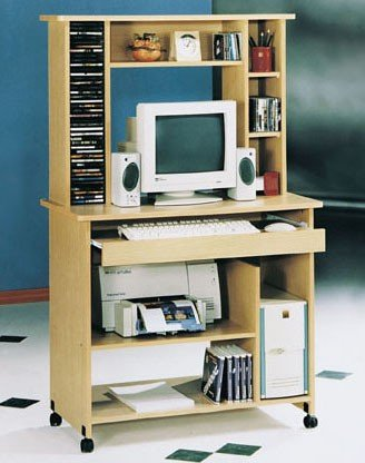 Home Office Computer Desk with Hutch Natural Finish