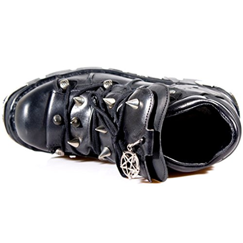 NEWROCK 110 -S1 pelle nera unisex Stivali gotico della vite prigioniera del motociclo