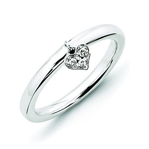 Sterling Silver Polished Prong set Rhodium-plated Stackable Expressions Dangle Heart Diamond Ring - Size 9 (Diamond Navel Jewelry Heart)