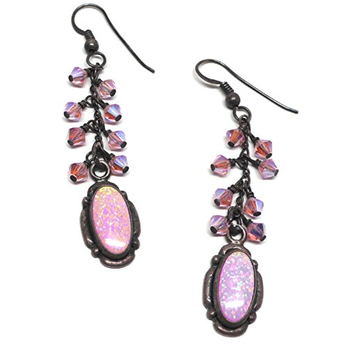 Lab Grown Pink Opal Swarovski Crystal Cluster Drop Earrings Oxidized Sterling Silver