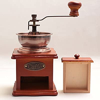 WAYERTY Manual Coffee Grinder, Wood Hand Coffee Bean Grinder Copper Bowls Household Coffee Mill Grinder