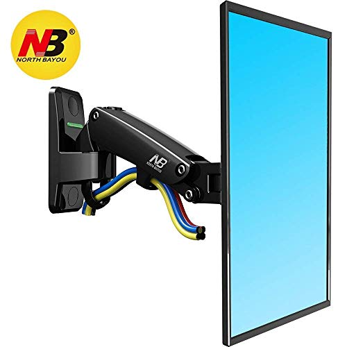 NB North Bayou TV Monitor Wall Mount Bracket Full Motion Articulating Swivel for 17-27 Inch Display Monitor with Gas Spring (Black Single Extension) ()