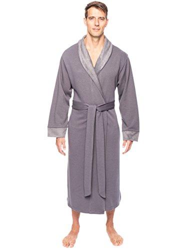 Noble Mount Men's Super Soft Brushed Robe - Dark Grey - 2...
