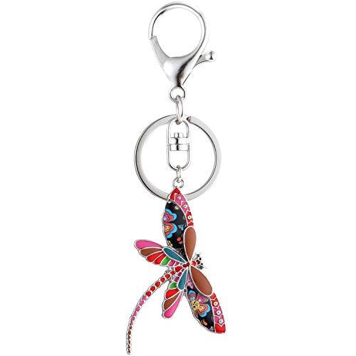 Luckeyui Cute Dragonfly Keychain for Women Unique Enamel Insect Keyring