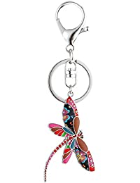 Cute Dragonfly Keychain for Women Unique Enamel Insect Keyring