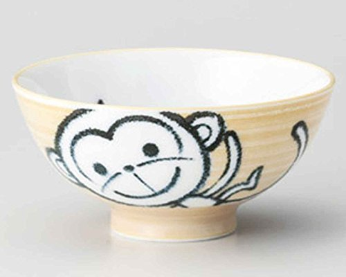 Monkey 4.4inch Set of 5 RICE-BOWLs White porcelain Made in Japan