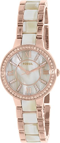 Fossil Women's Virginia Quartz Stainless Steel and Horn Acetate Dress Watch, Color: Rose Gold-Tone (Model: ES3716)