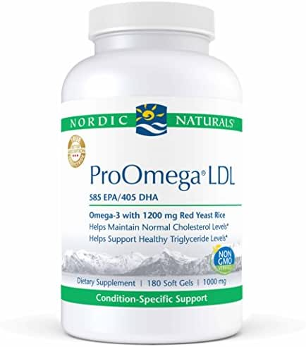Nordic Naturals ProOmega LDL - Fish Oil, 585 mg EPA, 405 mg DHA, 1200 mg Red Yeast Rice, 30 mg CoQ10 Ubiquinone, Support for Healthy Cholesterol and Triglyceride Levels*, 180 Soft Gels