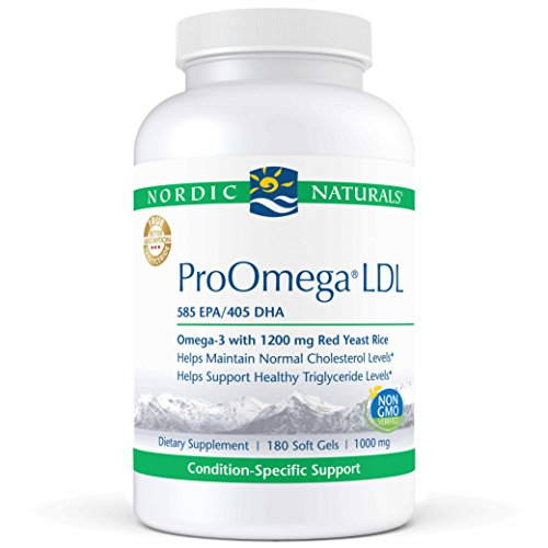 Nordic Naturals ProOmega LDL – Fish Oil, 585 mg EPA, 405 mg DHA, 1200 mg Red Yeast Rice, 30 mg CoQ10 Ubiquinone, Support for Healthy Cholesterol and Triglyceride Levels*, 180 Soft Gels Review