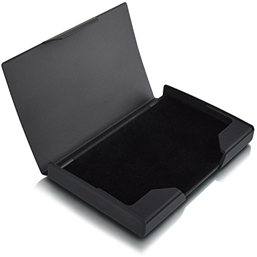 Business Card Holder, Titanium & Stainless Steel Business Card Case for Work, Metal Business Name Cards Holder/Organizer Matte Black02 (Metallic Business Card Case)