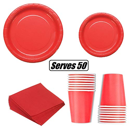 Red Paper Plates (Serves 50 | Complete Party Pack | Red | 9