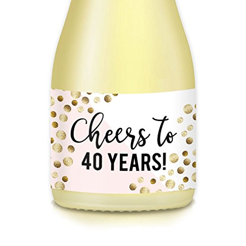 Woman's 40th Birthday Gift Idea Mini Wine or Champagne Bottle Labels, CHEERS to 40 Years! Celebrating Fortieth, 20 Count Sparkling Stickers for Party Decorations, Wife, Mom, Lady Boss, Sister, -