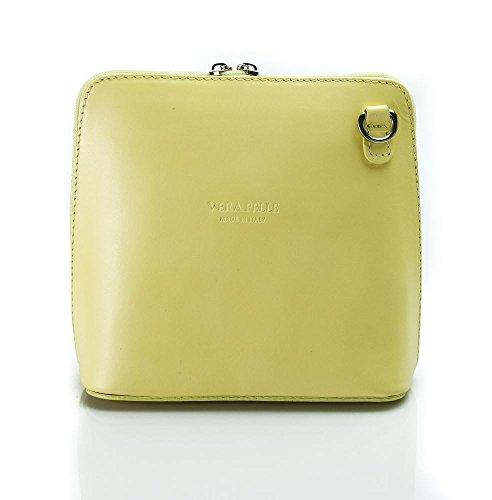 Bolso Benagio de cuero italiano auténtico, para uso cruzado o de hombro Lemon Yellow Yellow