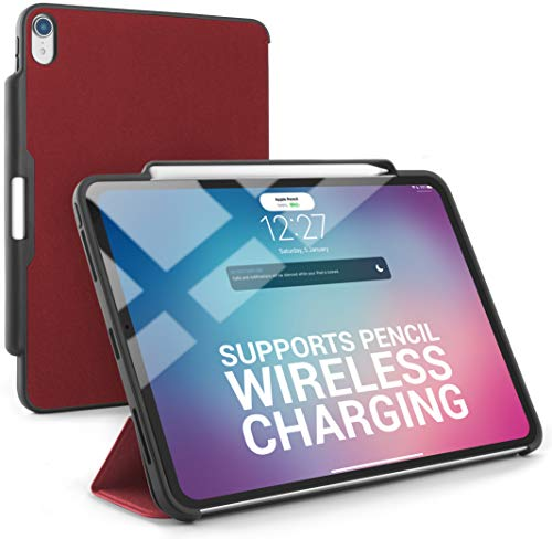 Dino Enterprise DinoCase iPad Pro 11-inch (2018) Case with Pencil Holder, Supports Wireless Pencil Charging, Secure Your Apple Pencil, (TineeOwl) Sleek and Lightweight (Red) price tips cheap