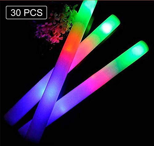 100 Floors Game Halloween (Taotuo 30 PCS LED Light Up Foam Sticks-Led Foam Sticks with Three Modes Color Effect Light Sticks for Parties, Weddings, Raves, Concert,)