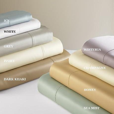Sferra Giotto Sea Mist King Bedskirt Gathered Panels Egyptian Cotton Sateen Italy