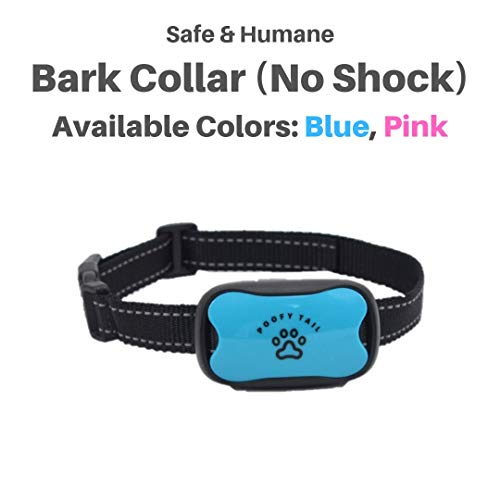 POOFY TAIL Bark Collar for Small, Medium, Large Dogs, Adjustable Levels -Sound and Vibration, No Shock, No Bark, Blue/Orange (Blue)