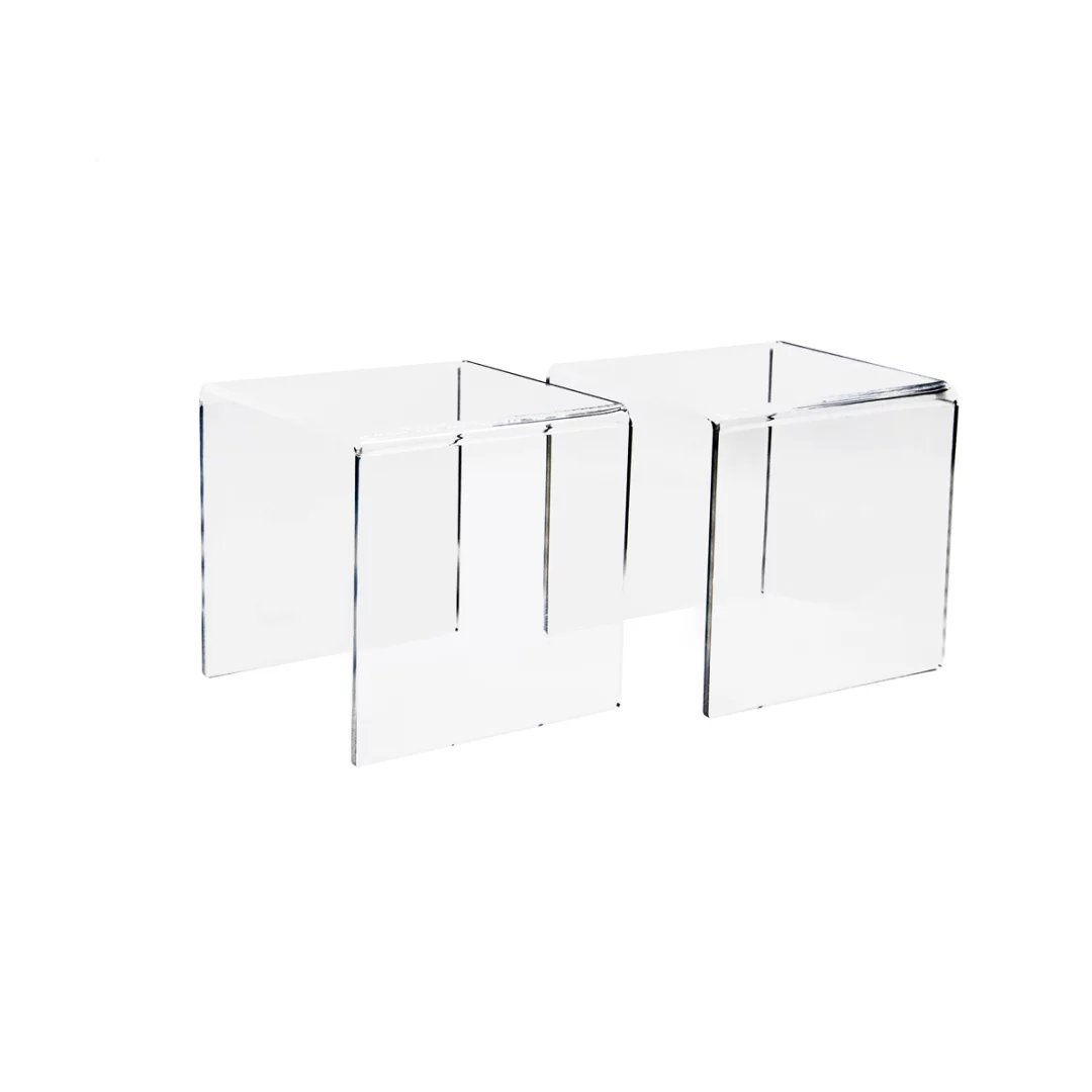 Combination of Life Low Profile Clear Acrylic Risers for Displays Set of 3