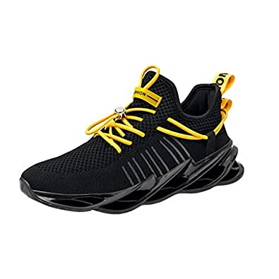 AUCDK Men Breathable Trainers Lace Up Mesh Fabric Running Shoes Casual Sneakers for Exercise Fitness 7.5US Black