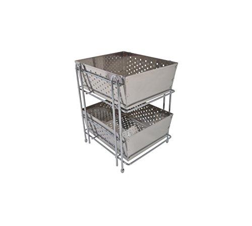 Klaxon Stainless Steel Double Shelf Kitchen Basket (Chrome Finish)