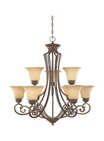 (Forged Sienna Nine Light Up Lighting Two Tier Chandelier from the Mendocino)