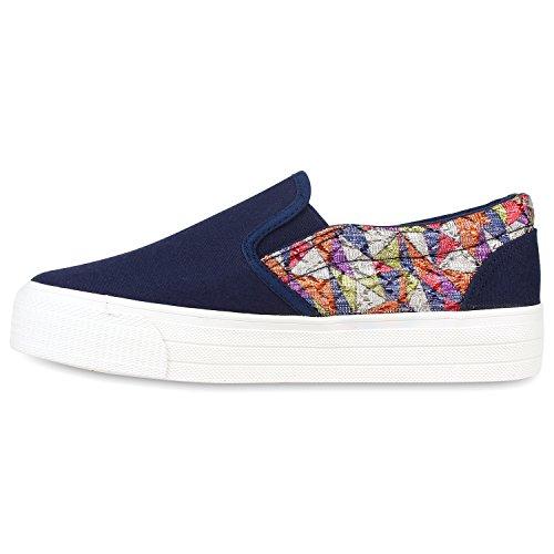Stiefelparadies Damen Sneaker Slip Ons mit Plateau Glitzer Flandell Dunkelblau Glitzer