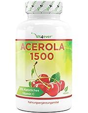 Acerola Kirsche - natürliches Vitamin C - 180 vegane Kapseln - 1500 mg Acerola Fruchtpulver pro Tagesportion - Hochdosiert mit 25% Vitamin C Anteil - Laborgeprüft - Ohne unerwünschte Zusätze