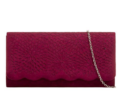 Women's Envelope Bag Bag Ladies Clutch Burgundy Cut Purse Laser Style Suede Handbag KH953 Evening aqYAI0