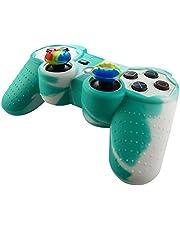 Pandaren® Silikon hülle skin für PS3 controller (grün + weiß) x 1 + thumb grip aufsätze x 2