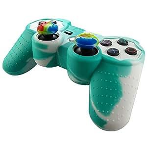 Pandaren Piel silicona para mando de PS3 (verde + blanco) + pulgar thumbstick tapa palo agarre x 2