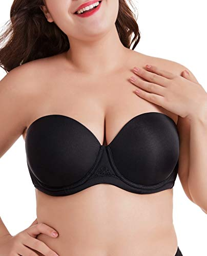 (DotVol Women's Multiway Strapless Bra Full Figure Underwire Contour Beauty Back Plus Size Bra(40DDD, Black))