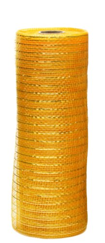 Caffco International Mesh Ribbon with Metallic Thread Accent, Extra Wide, 30-Feet Long, Gold