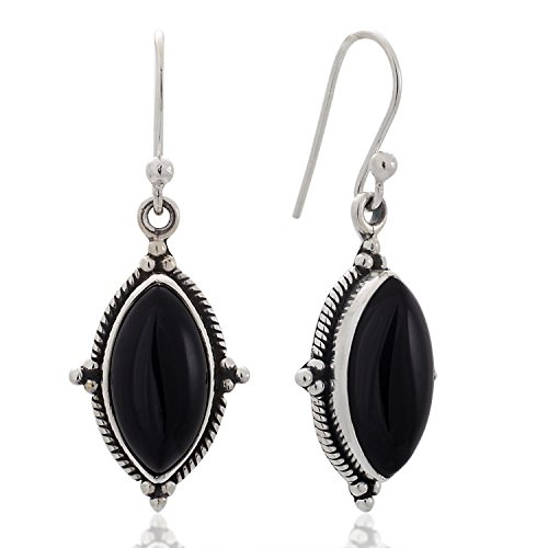 Sterling Silver Black Onyx Gemstones Vintage Marquise Shape Rope Edge Dangle Hook Earrings 1.4