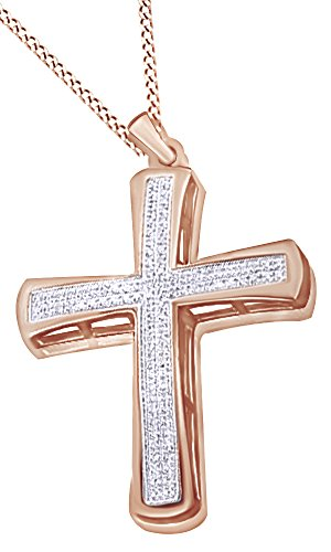 White Natural Diamond Cross Hip Hop Pendant in 14k Rose Gold Over Sterling Silver (0.21 Cttw) by AFFY