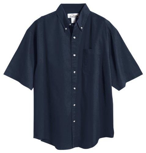 Tri-Mountain 768 Recruit Teflon Stain-Resistant Woven Shirt, Navy, - Shirt Formal Herringbone