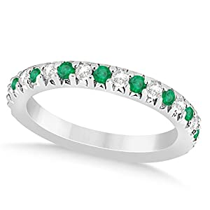 (0.60ct) 14k White Gold Emerald and Diamond Accented Prong Set Wedding Band