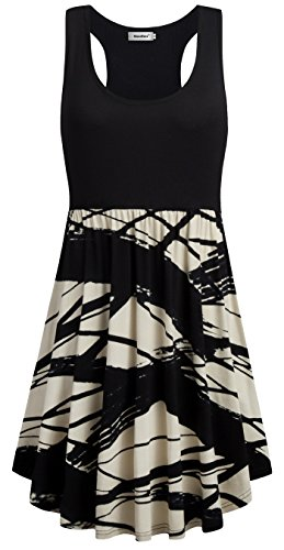 Sixother Patchwork Dress for Ladies,Slim Waist Formal Dress for Work Sleeveless Evening Dresses for Summer A Line Flowy Swing Classic Shift Dresses With Pockets for Women's Day Beach Dress Plus Size