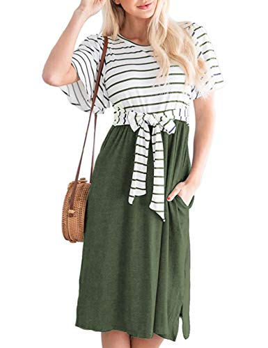(MEROKEETY Women's Summer Striped Ruffle Sleeves Tie Waist Pockets Casual Swing Midi Dress Green)