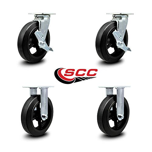 Service Caster - 8'' x 2'' Rubber on Cast Iron Wheel Caster Set - 2 Swivel w/Brakes/2 Rigid - 2,000 lbs Total Capacity - Set of 4 by Service Caster (Image #5)