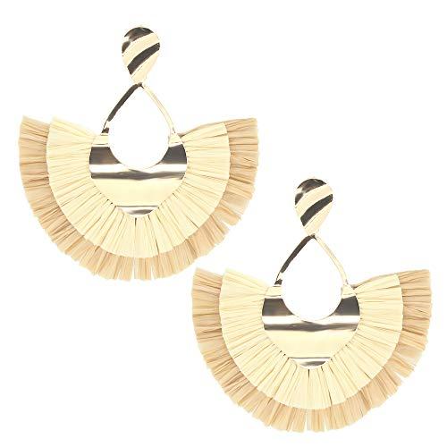 Beige Raffia Tassel Earrings Fringe Statement Drop Earrings Boho Dangle Geometric Round Earrings for Women Girl Gift Jewelry