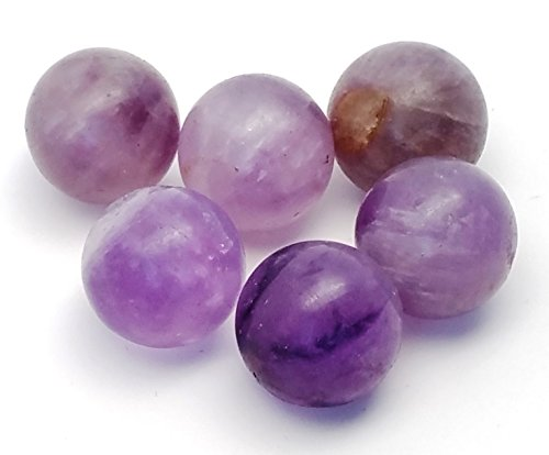6 pcs Amethyst Crystal Sphere Ball Lot, 100% Natural Polished Stones in Gift Pouch/Tumbled Marble Rocks for Crystal Healing Grids ()