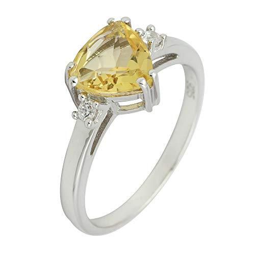 Banithani Beautiful 925 Sterling Silver Citrne Stone Finger Ring Women Fashion Jewelry