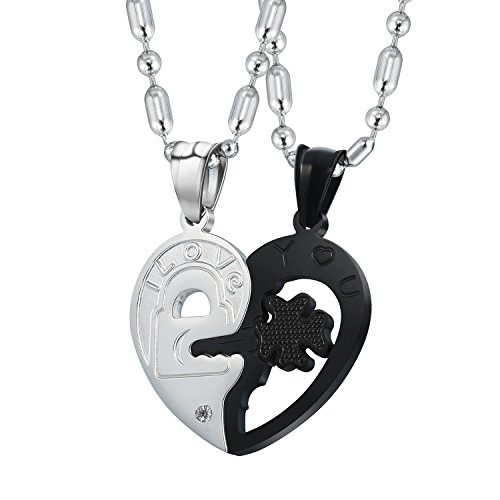 Morenitor Stainless Steel Couple Necklace Heart Pendant Matching Mother's Day Jewelry Gifts for His and Hers